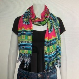 Accessories - 100% COTTON SCARF With FRINGES And SEQUIN